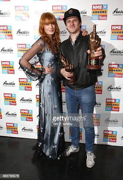 Florence Welch and Jamie T pose in the winner's room at the NME Awards at Brixton Academy on February 18 2015 in London England