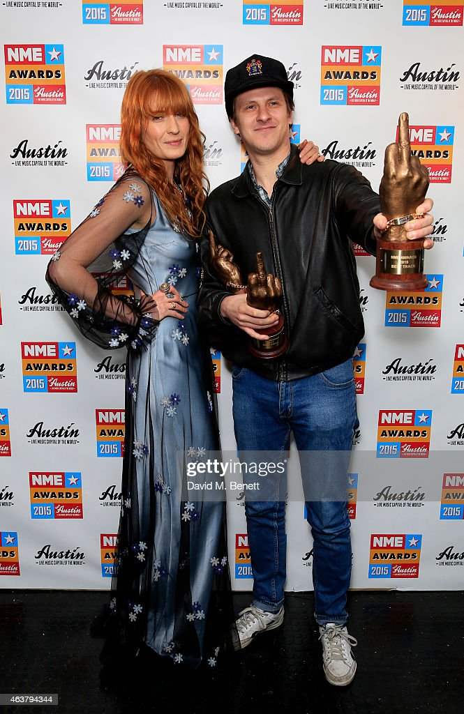 Florence Welch and Jamie T poses in the winner's room at the NME Awards at Brixton Academy on February 18, 2015 in London, England.