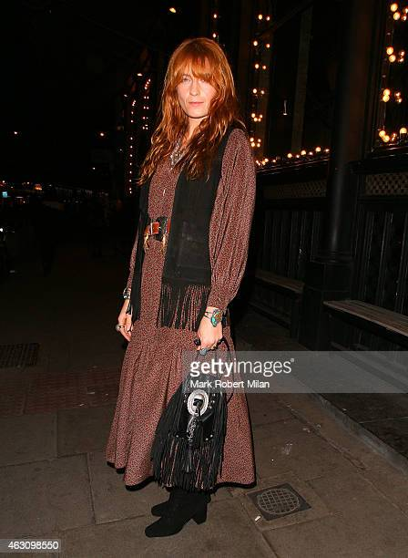 Florence Welch at the Les Trois Garcons for a friends and family album playback on February 9 2015 in London England