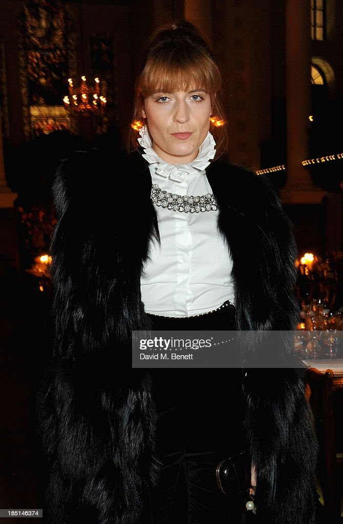 <a gi-track='captionPersonalityLinkClicked' href=/galleries/search?phrase=Florence+Welch&family=editorial&specificpeople=5431574 ng-click='$event.stopPropagation()'>Florence Welch</a> attends the Alexander McQueen and Frieze Dinner to celebrate the Frieze Art Fair 2013 on October 17, 2013 in London, England.