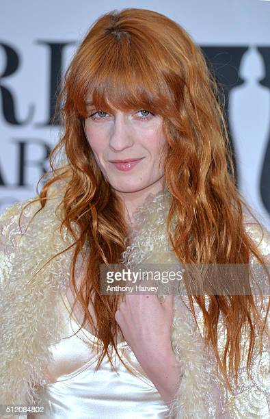 Florence Welch attends the BRIT Awards 2016 at The O2 Arena on February 24 2016 in London England