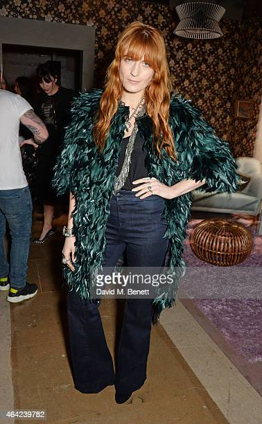Florence Welch attends the Erdem show during London Fashion Week Fall/Winter 2015/16 at Old Selfridges Hotel on February 23 2015 in London England
