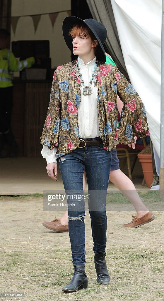 Florence Welch attends the Glastonbury Festival of Contemporary Performing Arts at Worthy Farm, Pilton on June 30, 2013 in Glastonbury, England.