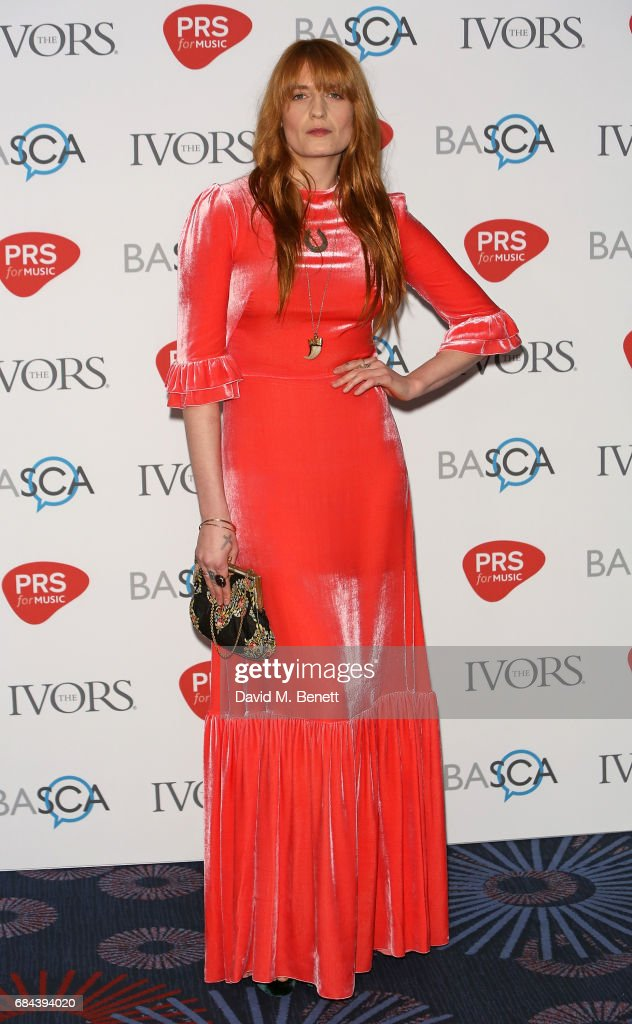 Florence Welch attends the Ivor Novello Awards at Grosvenor House, on May 18, 2017 in London, England.