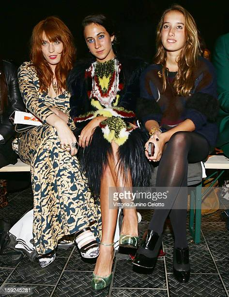 Florence Welch Delfina Delettrez Fendi and Leonetta Fendi attend Kenzo fashion show as part of Pitti Immagine Uomo 83 at Mercato Centrale on January...