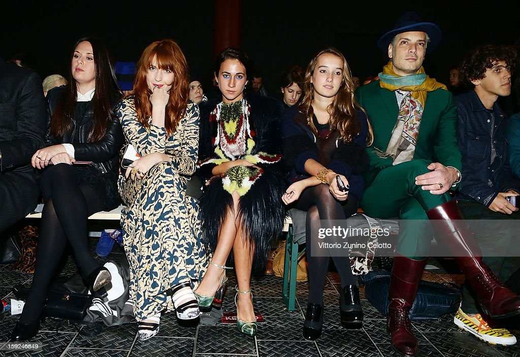 <a gi-track='captionPersonalityLinkClicked' href=/galleries/search?phrase=Florence+Welch&family=editorial&specificpeople=5431574 ng-click='$event.stopPropagation()'>Florence Welch</a>, <a gi-track='captionPersonalityLinkClicked' href=/galleries/search?phrase=Delfina+Delettrez+Fendi+-+Jewelry+Designer&family=editorial&specificpeople=5363651 ng-click='$event.stopPropagation()'>Delfina Delettrez Fendi</a> and Leonetta Fendi attend Kenzo fashion show as part of Pitti Immagine Uomo 83 at Mercato Centrale on January 10, 2013 in Florence, Italy.