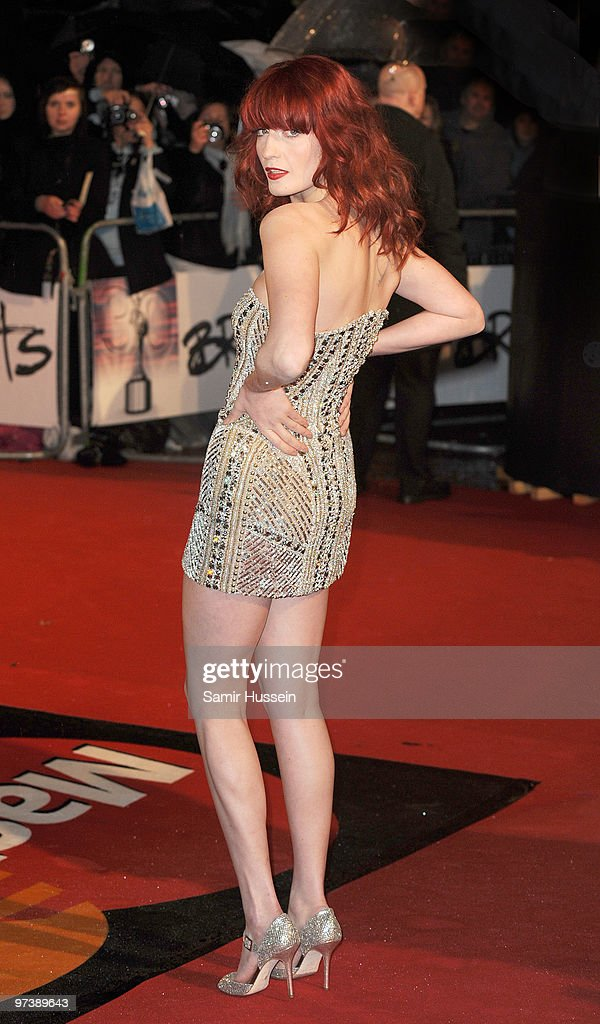 Florence Welch from Florence and the Machine arrives for the BRIT Awards 2010 on February 16, 2010 at Earls Court in London, England.