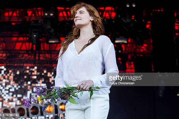 Florence Welch from Florence and the Machine performs at Roskilde Festival on July 2 2015 in Roskilde Denmark