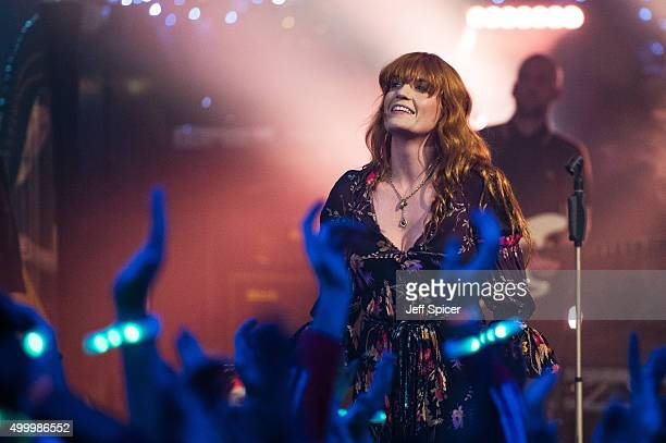 Florence Welch from Florence and the Machine performs during a live broadcast of 'TFI Friday' on December 4 2015 in London England