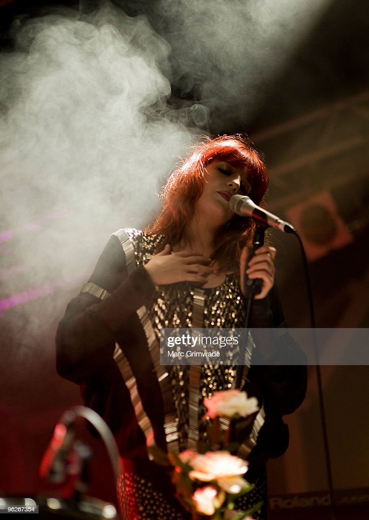 Florence Welch from the band Florence and the Machine performs on stage at the Brisbane leg of the Laneway Festival in Fortitude Valley on January 29...