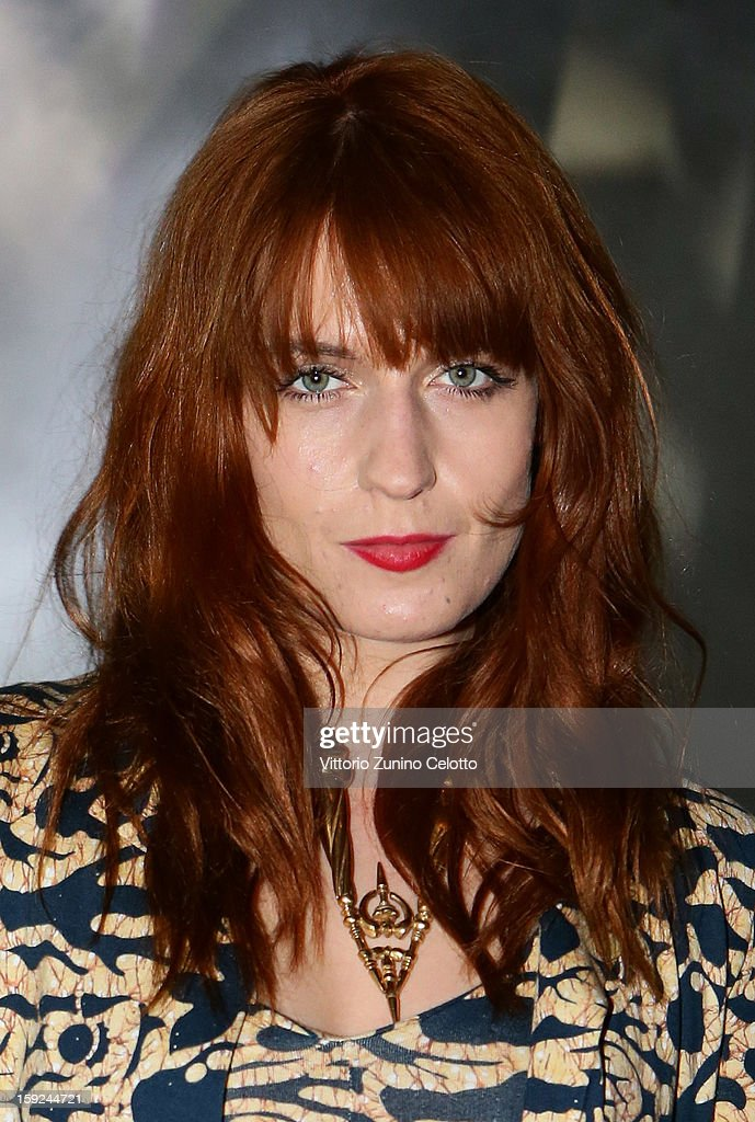 Florence Welch of Florence and the Machine attends Kenzo fashion show as part of Pitti Immagine Uomo 83 at Mercato Centrale on January 10, 2013 in Florence, Italy.