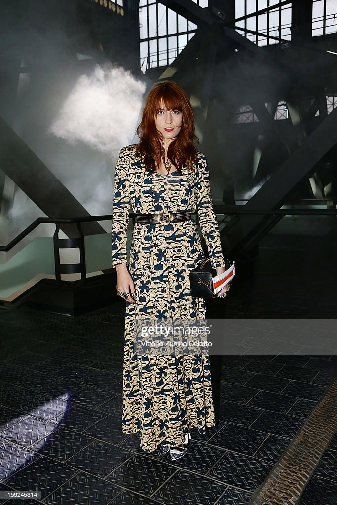 <a gi-track='captionPersonalityLinkClicked' href=/galleries/search?phrase=Florence+Welch&family=editorial&specificpeople=5431574 ng-click='$event.stopPropagation()'>Florence Welch</a> of Florence and the Machine attends Kenzo fashion show as part of Pitti Immagine Uomo 83 at Mercato Centrale on January 10, 2013 in Florence, Italy.