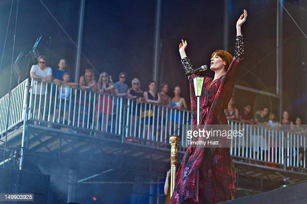 Florence Welch of Florence and the Machine performs during 2012 Lollapalooza at Grant Park on August 5 2012 in Chicago Illinois