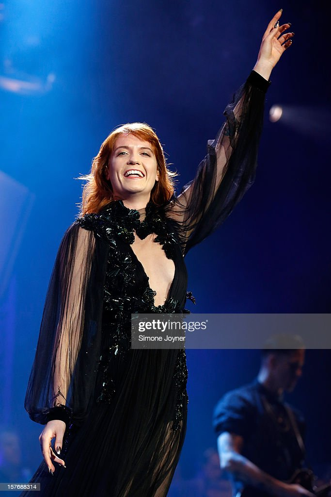 Florence Welch of Florence And The Machine performs live on stsge at 02 Arena on December 5, 2012 in London, England.