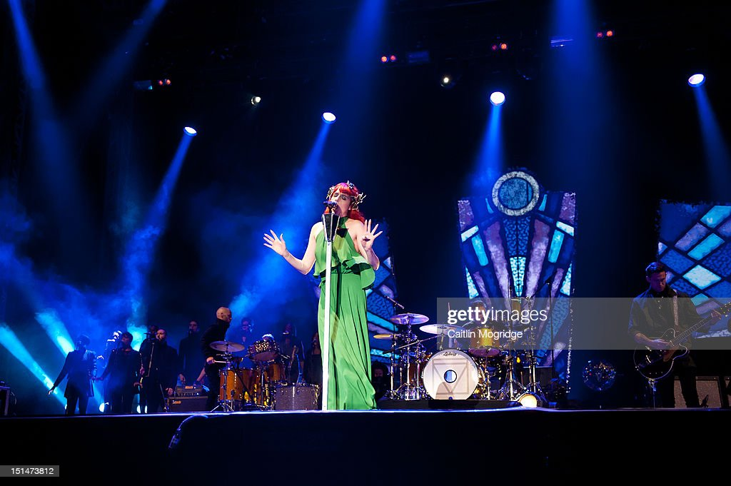 <a gi-track='captionPersonalityLinkClicked' href=/galleries/search?phrase=Florence+Welch&family=editorial&specificpeople=5431574 ng-click='$event.stopPropagation()'>Florence Welch</a> of Florence and the Machine performs on stage at Bestival at Robin Hill Country Park on September 7, 2012 in Newport, United Kingdom.