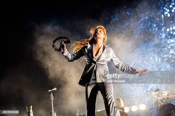 Florence Welch of Florence and the Machine performs on stage during the Lollapalooza music festival at Grant Park on August 2 2015 in Chicago Illinois
