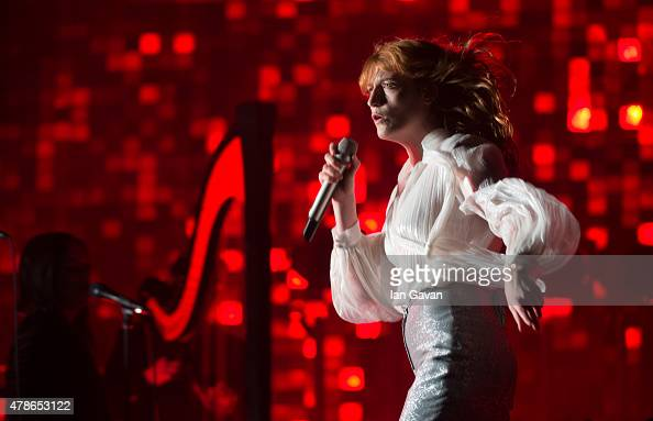 Florence Welch of Florence and the Machine performs on The Pyramid Stage during the Glastonbury Festival at Worthy Farm Pilton on June 26 2015 in...