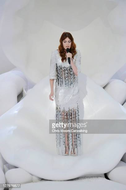 Florence Welch on the runway at the Chanel Spring Summer 2012 fashion show during Paris Fashion Week on October 4 2011 in Paris France