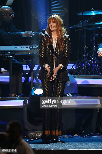 Florence Welch performs at the 2016 MusiCares Person of The Year Show at Los Angeles Convention Center on February 13 2016 in Los Angeles California