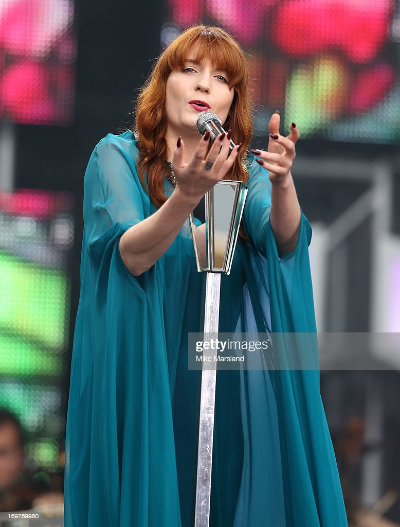 Florence Welch performs on stage at the 'Chime For Change: The Sound Of Change Live' Concert at Twickenham Stadium on June 1, 2013 in London, England. Chime For Change is a global campaign for girls' and women's empowerment founded by Gucci with a founding committee comprised of Gucci Creative Director Frida Giannini, Salma Hayek Pinault and Beyonce Knowles-Carter.