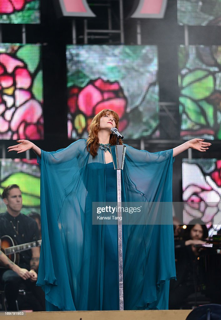<a gi-track='captionPersonalityLinkClicked' href=/galleries/search?phrase=Florence+Welch&family=editorial&specificpeople=5431574 ng-click='$event.stopPropagation()'>Florence Welch</a> performs on stage at the 'Chime For Change: The Sound Of Change Live' Concert at Twickenham Stadium on June 1, 2013 in London, England. Chime For Change is a global campaign for girls' and women's empowerment founded by Gucci with a founding committee comprised of Gucci Creative Director Frida Giannini, Salma Hayek Pinault and Beyonce Knowles-Carter.