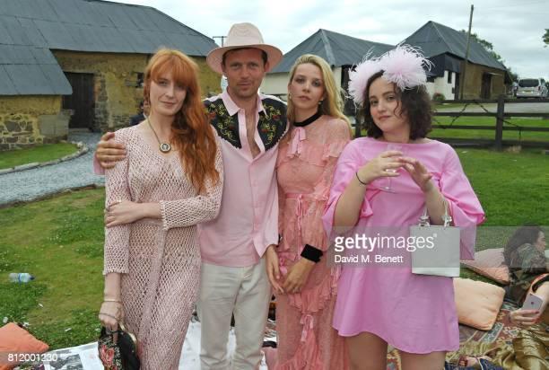 Florence Welch Robert Montgomery Greta Bellamacina and Phoebe Saatchi pose at Greta Bellamacina and Robert Montgomery's wedding on July 8 2017 in...