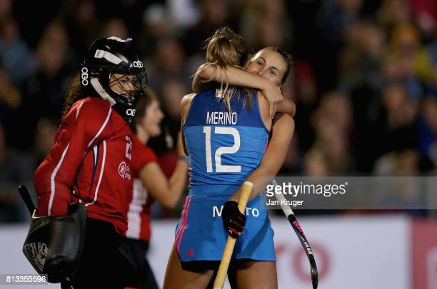 Florencia Habif of Argentina celebrates scoring their teams third goal with Delfina Merino of Argentina during day 3 of the FIH Hockey World League...
