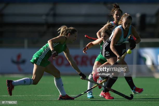 Florencia Habif of Argentina is is tackled by Nicola Daly of Ireland during the Quarter Final match between Argentina and Ireland during the FIH...