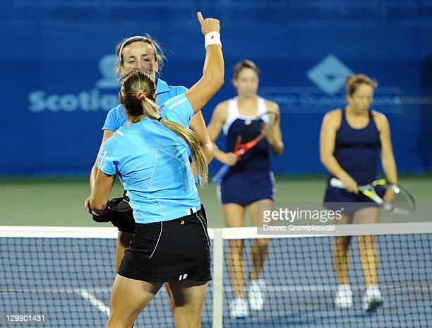 Florencia Molinero and Maria Irigoyen of Argentina celebrate after winning the gold medal against Christina McHale and Irina Falconi of the United...