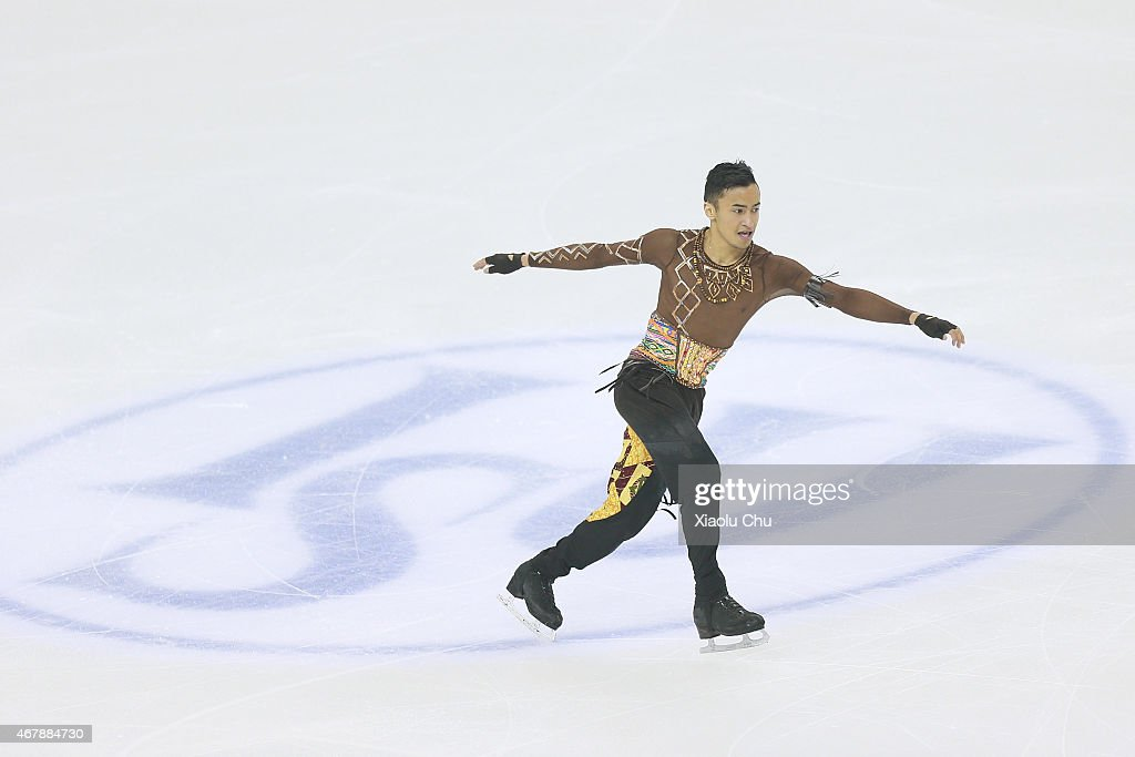 <a gi-track='captionPersonalityLinkClicked' href=/galleries/search?phrase=Florent+Amodio&family=editorial&specificpeople=5639715 ng-click='$event.stopPropagation()'>Florent Amodio</a> of France performs during the Ice Dance-Man Free Skating Program on day four of the 2015 ISU World Figure Skating Championships at Shanghai Oriental Sports Center on March 28, 2015 in Shanghai, China.