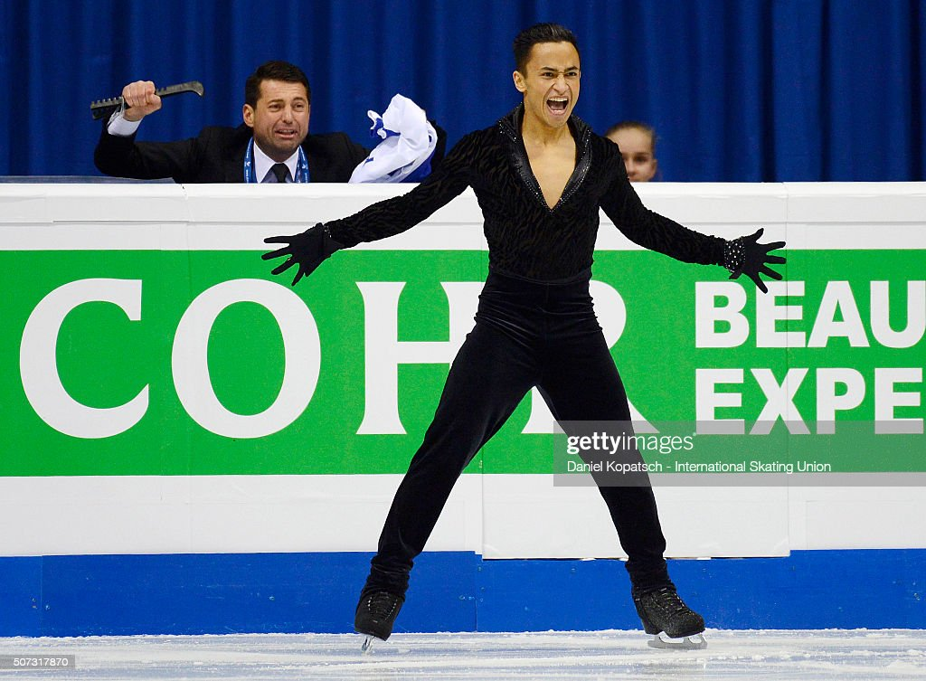 <a gi-track='captionPersonalityLinkClicked' href=/galleries/search?phrase=Florent+Amodio&family=editorial&specificpeople=5639715 ng-click='$event.stopPropagation()'>Florent Amodio</a> of France performs during the Men Free Skating on day two during the ISU European Figure Skating Championships 2016 on January 28, 2016 in Bratislava, Slovakia.