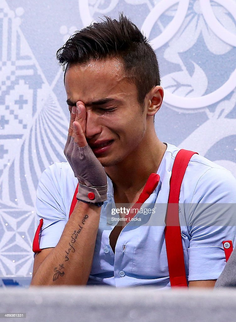 <a gi-track='captionPersonalityLinkClicked' href=/galleries/search?phrase=Florent+Amodio&family=editorial&specificpeople=5639715 ng-click='$event.stopPropagation()'>Florent Amodio</a> of France reacts after he competes during the Figure Skating Men's Free Skating on day seven of the Sochi 2014 Winter Olympics at Iceberg Skating Palace on February 14, 2014 in Sochi, Russia.