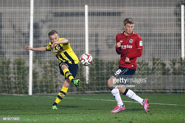 Florent Hadergjonaj and Sebastian Ernst during a friendly match between Young Boys Bern and Hannover 96 on January 17 2015 in Belek Turkey