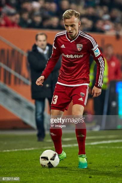 Florent Hadergjonaj of Ingolstadt controls the ball during the Bundesliga match between FC Augsburg and FC Ingolstadt 04 at WWK Arena on April 5 2017...