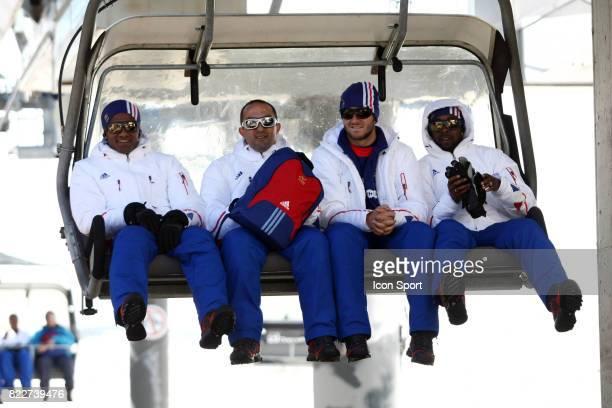 Florent MALOUDA / Andre Pierre GIGNAC / Sidney GOVOU Retour du Glacier Stage de l'Equipe de France avant la Coupe du Monde 2010 Tignes France