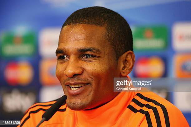 Florent Malouda attends the Chelsea FC press conference at BayArena on November 22 2011 in Leverkusen Germany