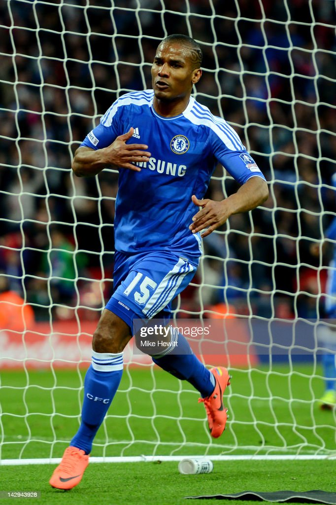 Florent Malouda of Chelsea celebrates as he scores their fifth goal during the FA Cup with Budweiser Semi Final match between Tottenham Hotspur and Chelsea at Wembley Stadium on April 15, 2012 in London, England.