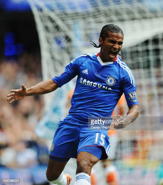 Florent Malouda of Chelsea celebrates scoring his side second goal during the Barclays Premier League match between Chelsea and Blackpool at Stamford...