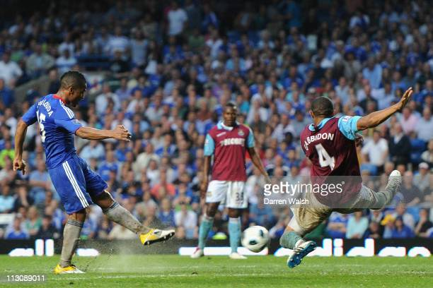 Florent Malouda of Chelsea scores his team's third goal during the Barclays Premier League match between Chelsea and West Ham United at Stamford...