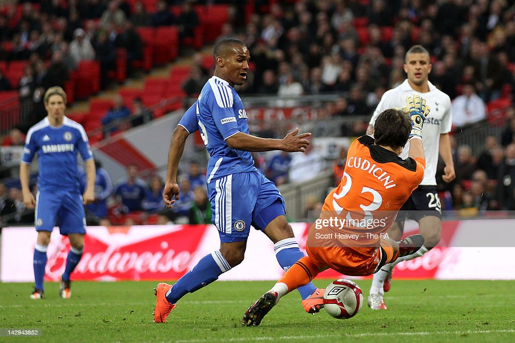 <a gi-track='captionPersonalityLinkClicked' href=/galleries/search?phrase=Florent+Malouda&family=editorial&specificpeople=228109 ng-click='$event.stopPropagation()'>Florent Malouda</a> of Chelsea scores their fifth goal during the FA Cup with Budweiser Semi Final match between Tottenham Hotspur and Chelsea at Wembley Stadium on April 15, 2012 in London, England.