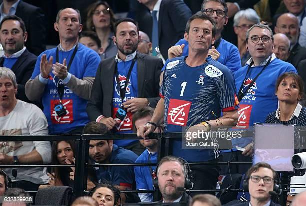 Florent Manaudou and girlfriend Ambre Baker JeanLuc Reichmann attend the 25th IHF Men's World Championship 2017 Semi Final handball match between...