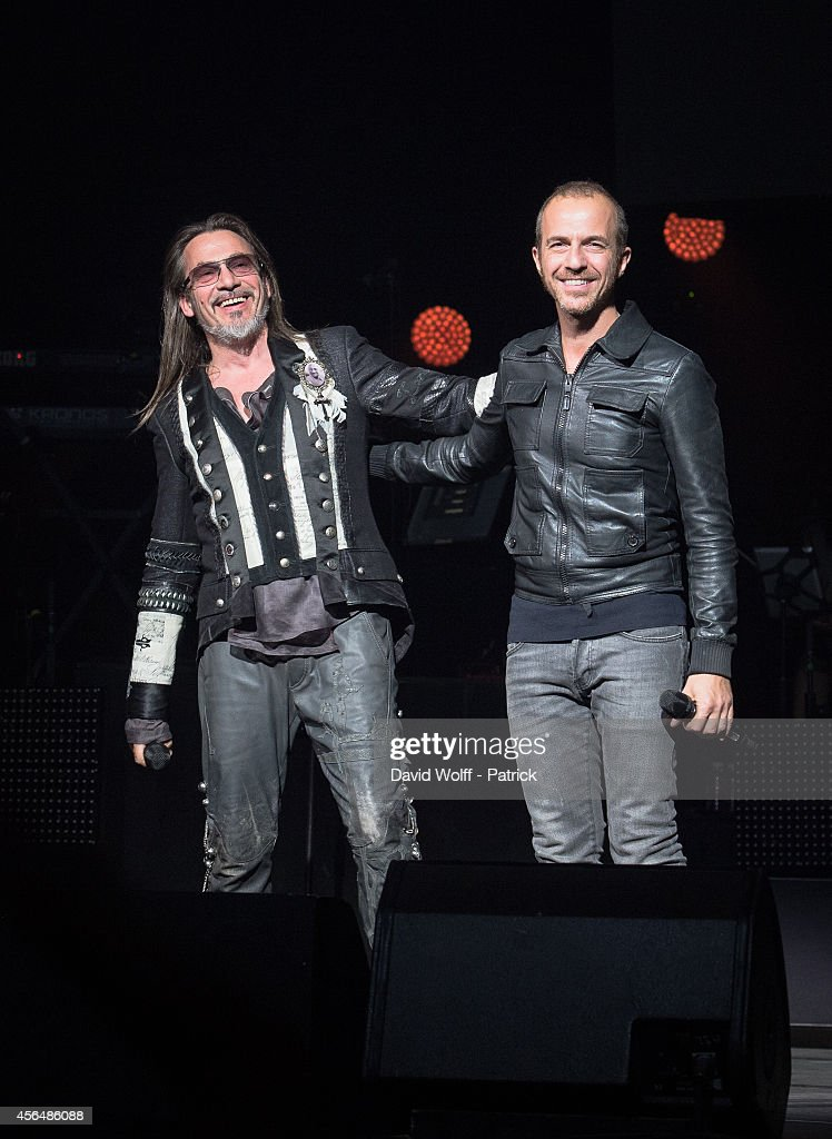 Florent Pagny and Calogero perform at Palais des Sports at La Cigale on October 1 2014 in Paris France