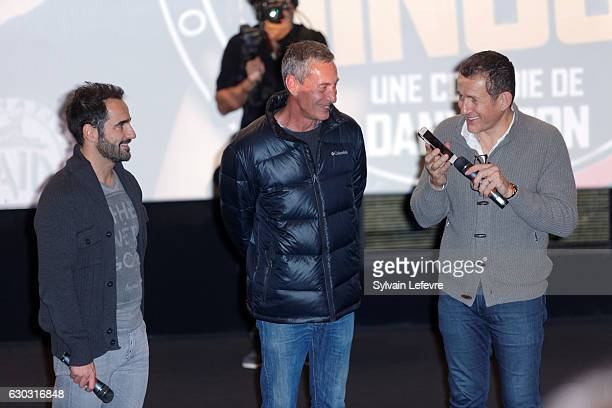 Florent Peyre François Levantal and Dany Boon attend 'RAID Dingue' premiere at Kinepolis of Lomme near Lille on December 20 2016 in Lomme France