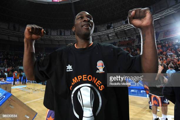 Florent Pietrus #20 of Power Electronics Valencia celebarates before the Champion Award Ceremony at Fernando Buesa Arena on April 18 2010 in...