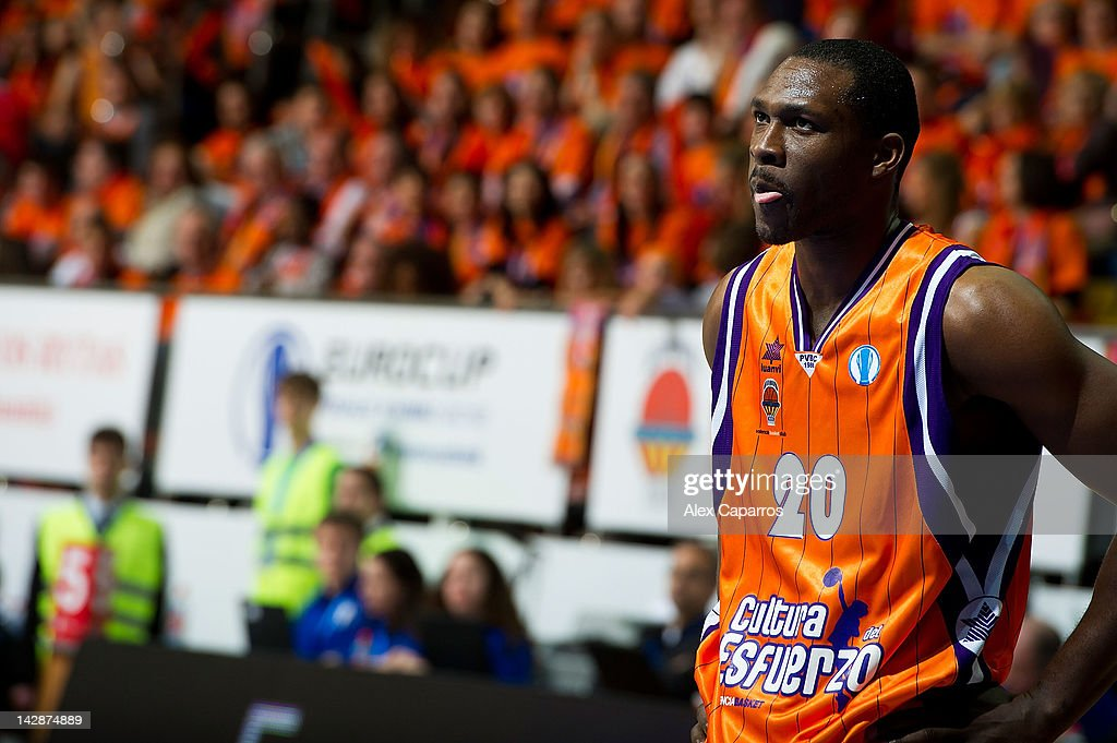 <a gi-track='captionPersonalityLinkClicked' href=/galleries/search?phrase=Florent+Pietrus&family=editorial&specificpeople=713034 ng-click='$event.stopPropagation()'>Florent Pietrus</a>, #20 of Valencia Basket reacts during the semifinal A of 2012 Eurocup Finals between Valencia Basket v Lietuvos Rytas at Basketball Center of Moscow Region on April 14, 2012 in Khimki, Russia.