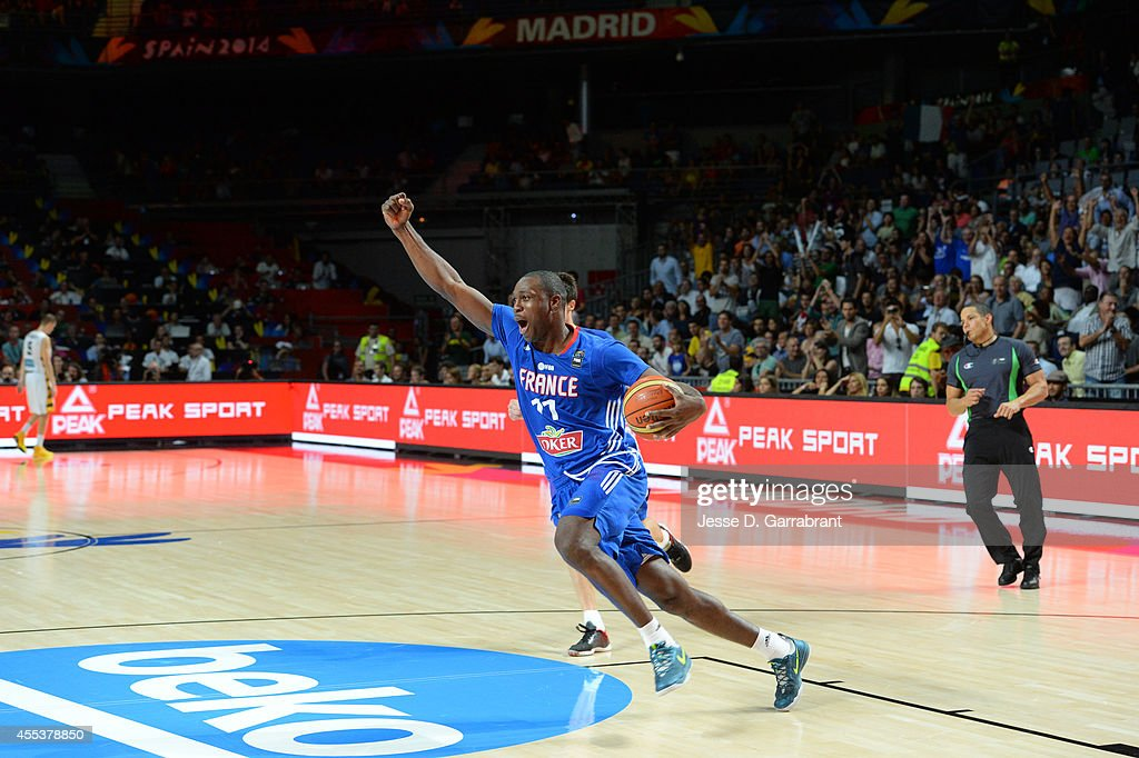 <a gi-track='captionPersonalityLinkClicked' href=/galleries/search?phrase=Florent+Pietrus&family=editorial&specificpeople=713034 ng-click='$event.stopPropagation()'>Florent Pietrus</a> #11 of the France National Team celebrates against the Lithuania National Team during the 2014 FIBA World Cup Third Place game at Palacio de Deportes on September 13, 2014 in Madrid, Spain.