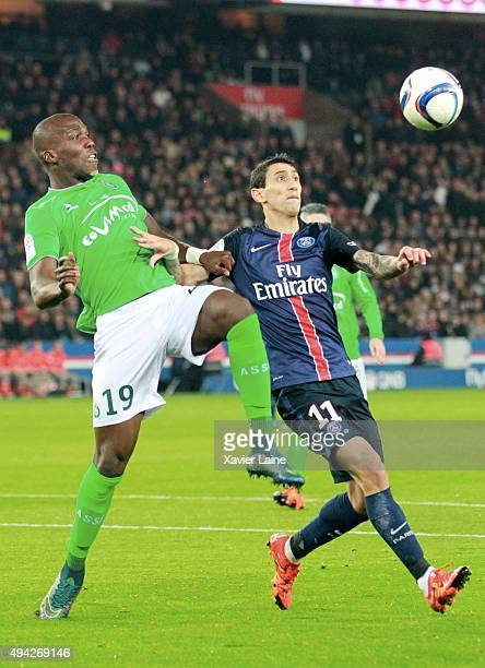 Florentin Pogba of AS SaintEtienne in action with Angel Di Maria of Paris SaintGermain during the French Ligue 1 between Paris SaintGermain and AS...