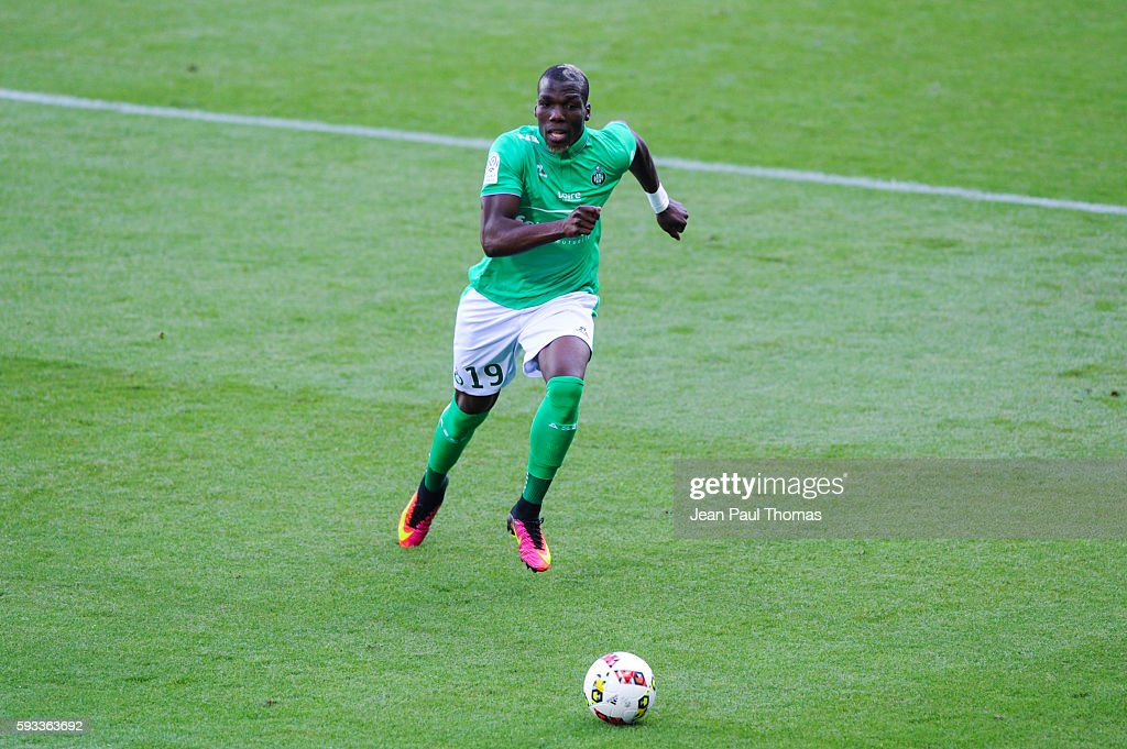 Florentin POGBA of Saint Etienne during the Ligue 1 match between As Saint Etienne and Montpellier Herault at Stade GeoffroyGuichard on August 21...