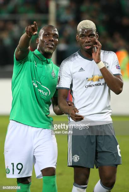 Florentin Pogba of SaintEtienne and his brother Paul Pogba of Manchester United wave to their mother in the stands following the UEFA Europa League...