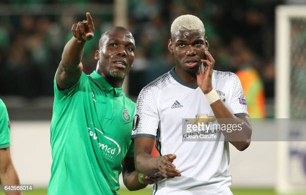 Florentin Pogba of SaintEtienne and his brother Paul Pogba of Manchester United following the UEFA Europa League Round of 32 second leg match between...